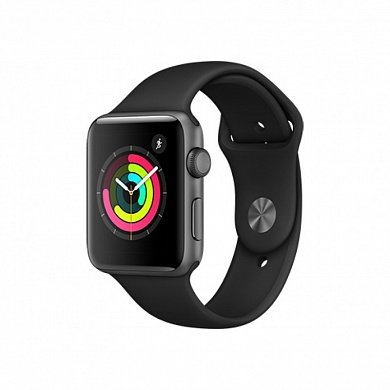 Apple Watch 3 series 38mm Sport Space Gray с серым ремешком