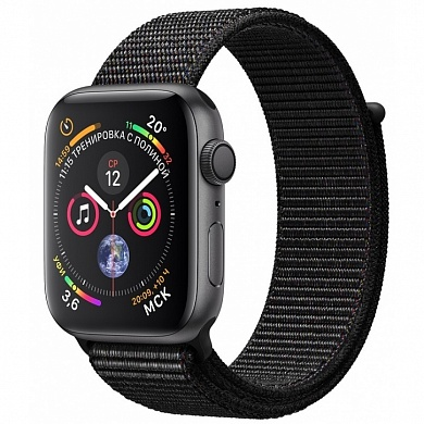 Apple Watch 4 series 44mm  Black Aluminum Case with Sport Loop